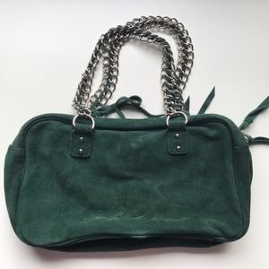 Handbags - Green Suede Leather Chain Purse